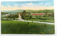 Postcard Woven Linen 1940s WWII Army Base Ft McClellan, Anniston, Alabama