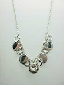 """Jessica Simpson Choker  Necklace Silver Tone Solid and Open Circle Pendants 18"""""""