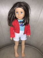 American Girl Doll Dark Brown Auburn Hair Blue Eyes Just Like You Swim Team