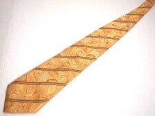 "Canali Mens Necktie Tie Gold Paisley Striped 60"" Silk Italy"