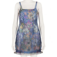 Christopher Kane Blue Silver Pink Triple Layer Ghost Cami Dress UK8 IT40