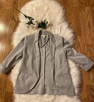 LC Lauren Conrad Womens Light Gray Blazer Jacket Lined 3/4 Sleeve Size 4