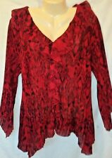 DRESSBARN RED AND BLACK WITH SPARKLE CRINKLE FABRIC RUFFLE FRONT BLOUSE SZ 14/16