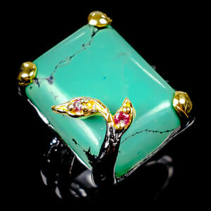 Handmade Natural Turquoise 925 Sterling Silver Ring Size 9/R119385