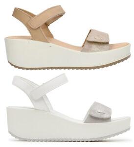 IGI & CO 31731 PERLA PLATINO scarpe donna sandali pelle camoscio zeppa