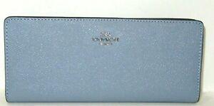 Coach Slim Twilight Blue Leather Wallet C3440 12 Credit Card Slots NWT $228
