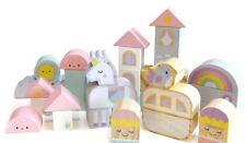 Fairy Castle Wooden Block Set - 30 COLOURFUL Pieces - Teaches Imagination