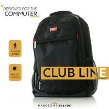 """Handsome Man Brands Club Line Backpack - Black, Fits 15"""" Laptop"""