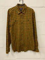 Patagonia Mens Organic Cotton Long Sleeve Shirt Size S Small Orange / Green