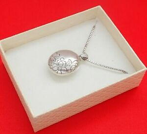 Georgini 925 Sterling Silver Floral Design Locket & Snake Link Necklace