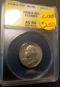 1936 D Certified Washington Quarter AU50 C138