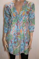 Blue Paisley Print 3/4 Sleeve Beach Summer Dress Size S BNWT #ST78