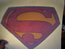 SUPERMAN S LOGO RED 1970's VINTAGE AMERICANA GLITTER IRON ON TRANSFER -NICE, B-3