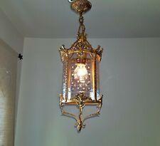 Vintage Brass Lantern Light hanging Lamp Architectural Fixture Porch round glass
