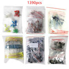 1390pcs LED Electronic Components Diode Transistor Capacitor Resistance Kit Lot
