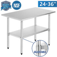 """Commercial 24"""" x 36"""" Stainless Steel Food Prep Work Table Kitchen Restaurant NSF"""