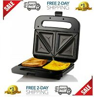 Compact Electric Panini Press Sandwich Maker with with, Non-Stick, Black