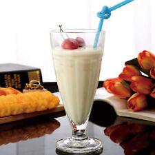 Set Of 6 Milkshake American Diner Ice Cream Soda Glasses Retro Footed Tumblers
