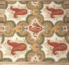 Pottery Barn Linden Paisley Pillow Sham Euro Orange Green Ivory 100% Cotton Pb