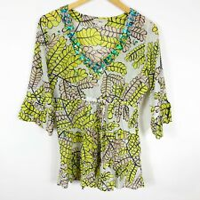Essential Antwerp Womens Size 40 Blouse Floral 3/4 Sleeve V Neck Sequin Top B103