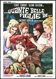 HOW MANY BEAUTIFUL DAUGHTERS OF ... POSTER CINEMA FILM TORDAY SEXY 1970...