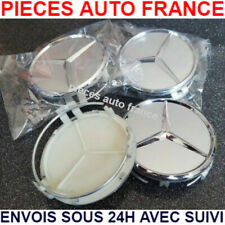 4 Caches Moyeu Mercedes 75 mm gris  Logo embleme Jante Centres De Roue