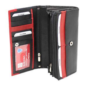Starhide Women Ladies RFID BLOCKING Real Leather Long Purse Wallet 370 Black Red
