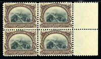 USAstamps Unused VF US 1901 Pan-American Fresh Block Scott 298 OG 2 MNH, 2 MVLH