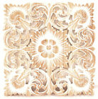 Recycled Teak Wood Carving Wall Art Decor Hanging Handmade Square Plaque White