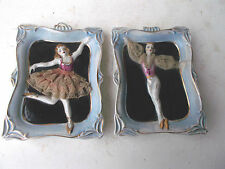L@@K-2 Male/Female Dancer's Ceramic Wall Plaques Made in Japan-3 Dimensional