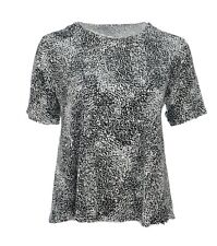 New Women's Black White Stretch Silver Sequin Party Top Short Sleeve Plus Size