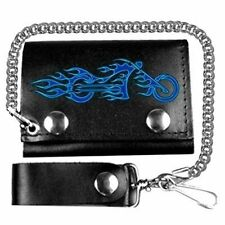 "FIRE BIKE 4"" SOFT Motorcycle NEW Quality Leather Biker WALLET & CHAIN WAL-0009"
