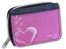 Pink Hearts 'I Love You Mum' Girls/Ladies Denim Purse Wallet Christmas, MUM-H1JW