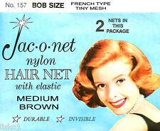Jac-O-Net #157 Bob Size French type Hair Net w/Elastic (2) pcs. Medium Brown