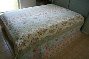 Vintage PINK ROSES QUILT Soft Cottage PASTELS Baby BLUE Pale GREEN Clearance!!