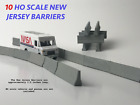 "Set of 10 HO Scale "" New Jersey Barrier "" Model Concrete Jersey Barriers 1.5"""