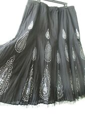 PETER NYGARD BLACK & WHITE FLORAL DESIGN EMBELLISHED TIERED SKIRT SIZE XL - NEW