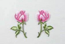 PAIR LIGHT PINK ROSES Left & Right Embroidered Iron On Sew On Patch