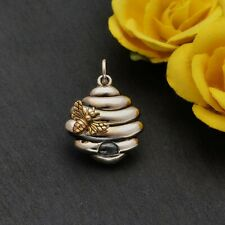 Sterling Silver Beehive Charm with Bronze Bee, Beekeeper, Honey Bee, Gardener