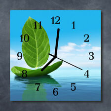 Glass Wall Clock Kitchen Clocks 30x30 cm silent Leaves Green