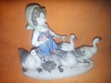 Vintage Porcelain Blue Crown (S) - GIRL with GEESE Figurine - Bavarian Style