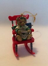 1998 Priscilla Hillman Cherished Teddies Bear Rocking Chair Christmas Ornament