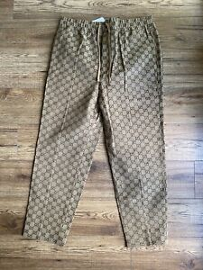 Brand New Tagged Men's Gucci Monogram Trousers Drawstring Size 50 Waist 34