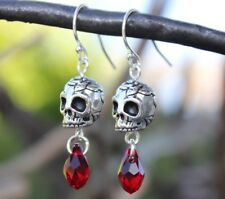Skull drops earrings - silver plated pewter skulls + blood red crystals - Gothic