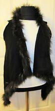 Liu Jo black colour sleeveless cardigan with fur reccoon-size S