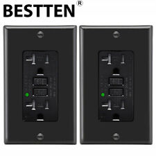 BESTTEN 2PK 20A GFI GFCI Self Test Wall Receptacle Outlet Weather Resistant &Led
