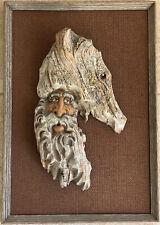 Vintage Driftwood Hand Carved Bearded Man Wood Spirit Framed Art Sculpture 14x20