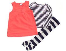 NEXT Fleece-Kleid, Langarm-Shirt und Strumpfhose mit Streifen - 110