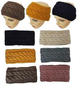 Ladies Women Girls Braided Knit Winter Ear Warmer Double Sided Hair Head Band