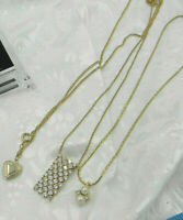 Vintage Necklace Lot of 3 Goldplate tone Heart Locket FX Pearls Crystals 1 Signe